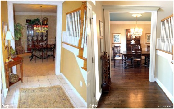 Dining and Entry Before and After Collage