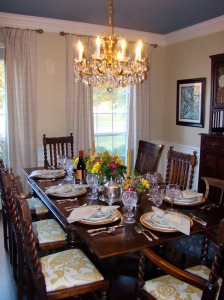 Dining Room view with ceiling Thanksgiving 2011