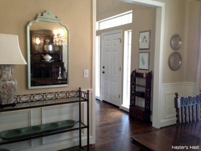 Mirror and Vintage Trays in Dining Room