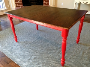Oak Table Turned Farmhouse Table with red legs and restained top