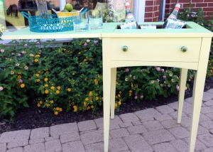 Vintage Sewing Table Turned Beverage Cart 1