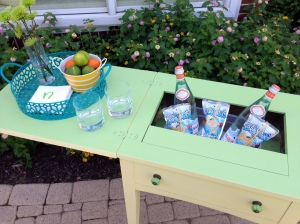 Vintage Sewing Table Turned Beverage Cart 2