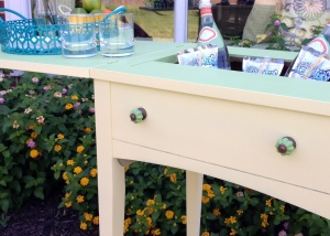Vintage Sewing Table Turned Beverage Cart 6
