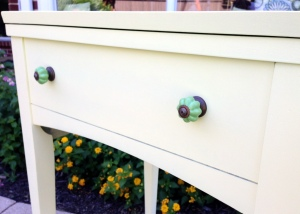 Vintage Sewing Table Turned Beverage Cart Knobs
