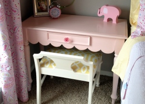 Bench with Pink Desk