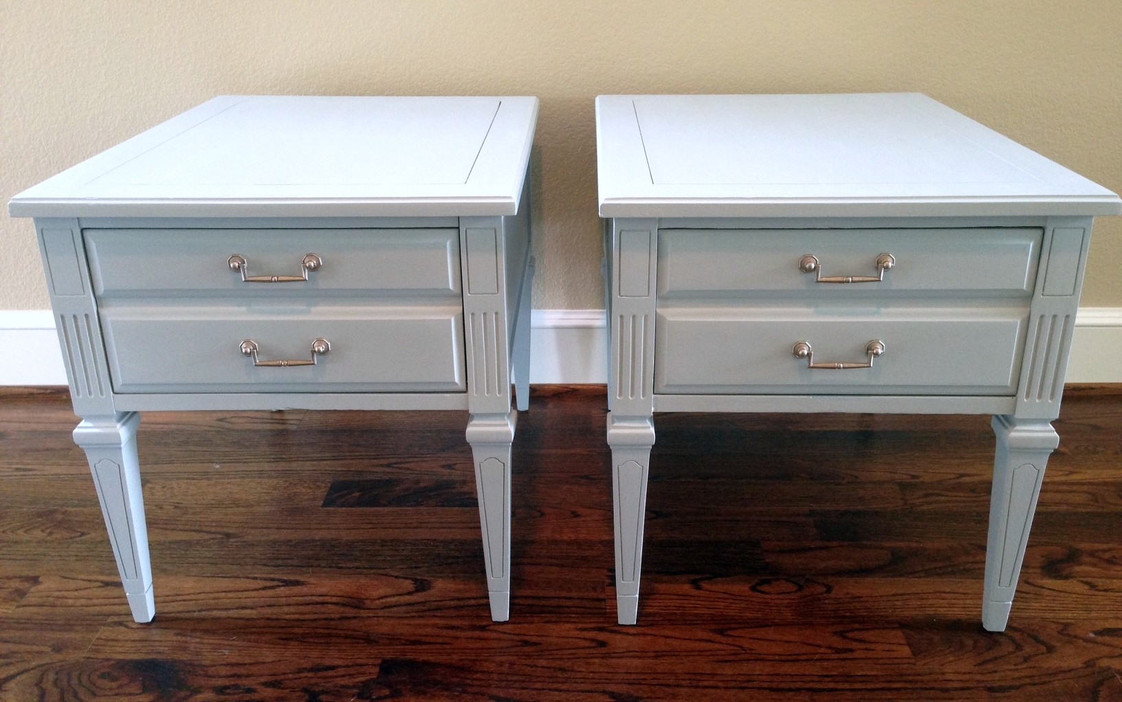 Rainy Day BlueGray Before amp After End Tables Painted