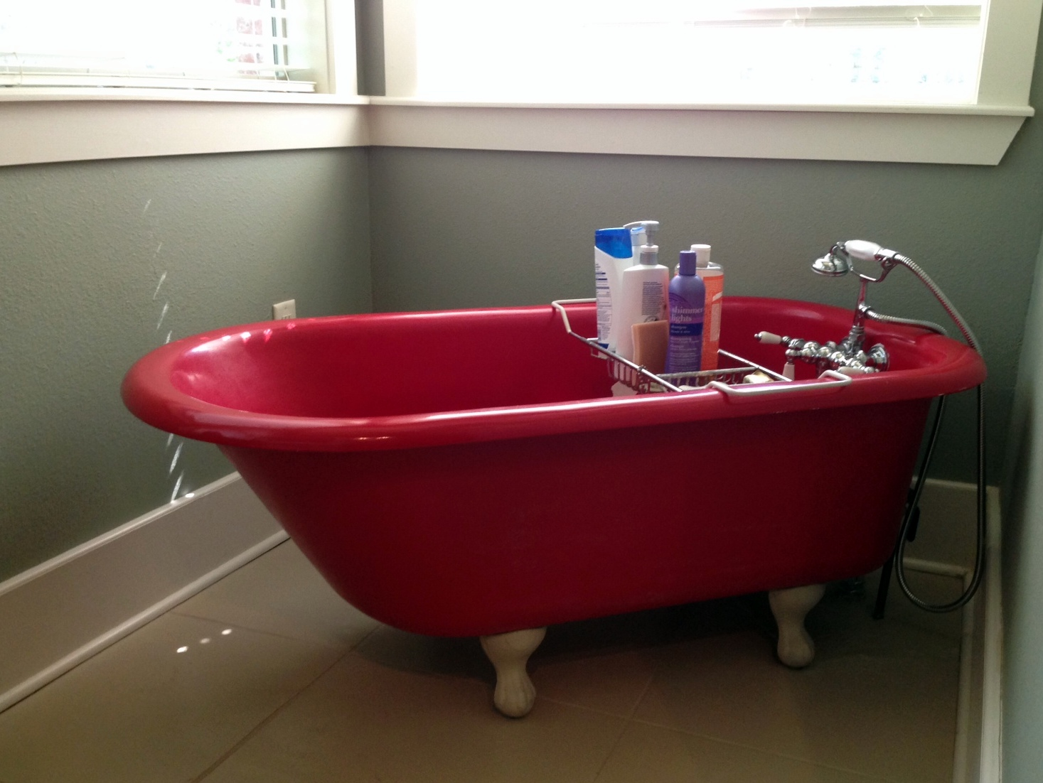 What To Do With A Red Tub Floor Tiles Shower Home Interior Design And