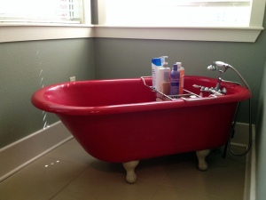 Mom Red Bathtub