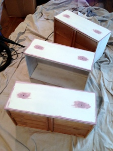 Drawers during painting process