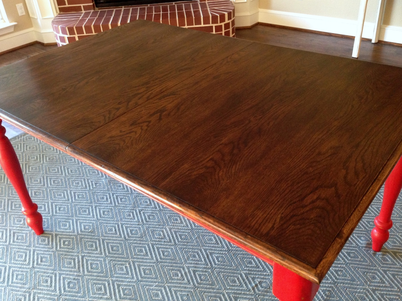 Oak Table Turned Farmhouse Table Red Legs Restained Top Detail ...
