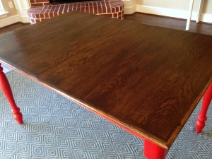 Oak Table Turned Farmhouse Table Red Legs Restained Top Detail