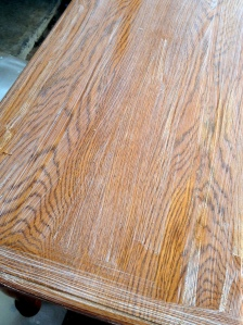 Oak Table Turned Farmhouse Table Stripping Process 1