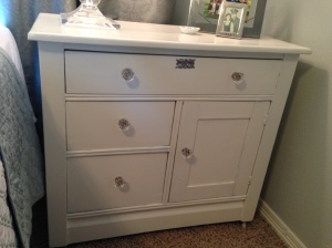 White Bedside Table Painted by Mom 2