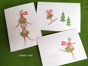 Skiing Skating Reindeer with Watermark