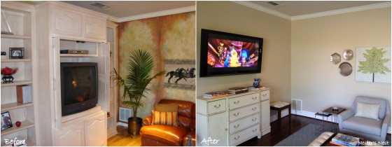 Family Room Corner View Before and After Collage