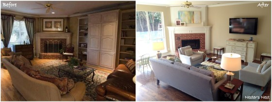 Family Room Fireplace View Before and After Collage