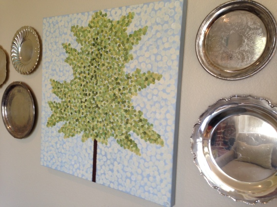 Family Room Tree Art and Silver Trays