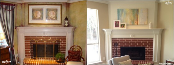 Fireplace before and after collage