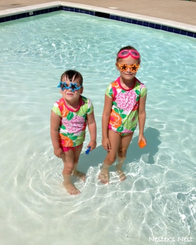 Clara and Addie at Pool July 5, 2014 - NN