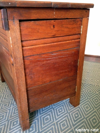 Antique Oak Nightstand After side view secret compartment