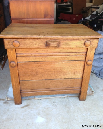 Antique Oak Nightstand Before in Garage - NN