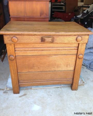 Antique Oak Nightstand Before in Garage - NN